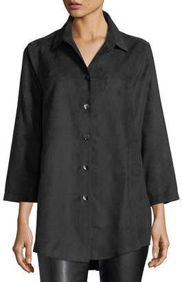Caroline Rose Modern Faux-Suede Long Shirt