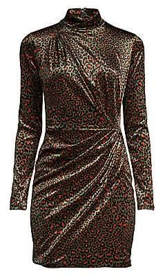 Black Halo Women's Briar Leopard Velvet Mini Dress - Size 0