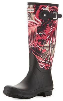 Hunter Boot Original Tall Jungle-Print Rain Boots, Black $235 thestylecure.com