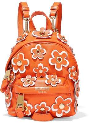 Moschino Floral-Appliquéd Leather Backpack
