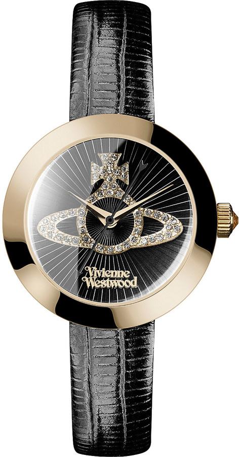 Vivienne WestwoodVivienne Westwood vv150gdbk queensgate stainless steel and leather watch