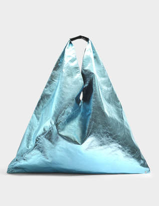 MM6 MAISON MARGIELA Japanese Large Bag in Light Blue Laminated Synthetic Leather