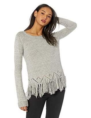 BB Dakota Womens Hang Loose Marled Yarn Sweater with Fringe