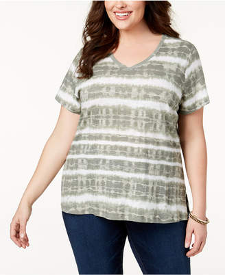 Style&Co. Style & Co Plus Size Cotton Tie-Dyed T-Shirt, Created for Macy's