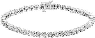 You & Me ... Meant To Be Sterling Silver 1/3 Carat T.W. Diamond Swirl Bracelet