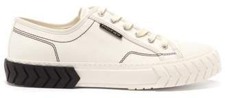 Both - Raised Sole Low Top Canvas Trainers - Mens - White Black