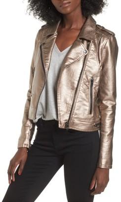 Women's Blanknyc Metallic Faux Leather Moto Jacket $148 thestylecure.com