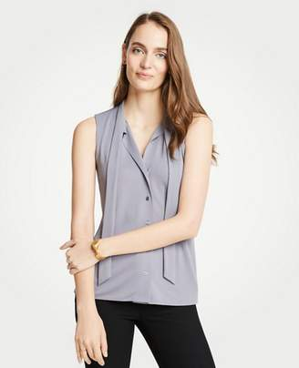 Ann Taylor Petite Tie Neck Button Front Shell
