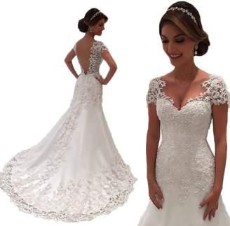 Yilian Mermaid Wedding Dresses 2018 V-Neck Short Sleeve Wedding Gown Bride Dress