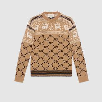 Gucci GG and reindeer jacquard wool sweater