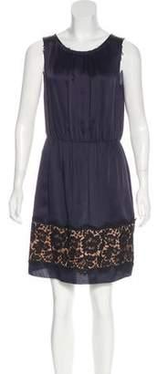 Lanvin Lace-Trimmed Satin Dress
