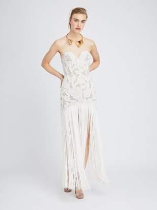 Oscar de la Renta Embroidered Illusion-Tulle Gown
