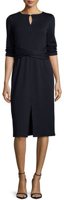Lafayette 148 New York 3/4-Sleeve Wool Dress w/ Faux-Wrap Waist $698 thestylecure.com
