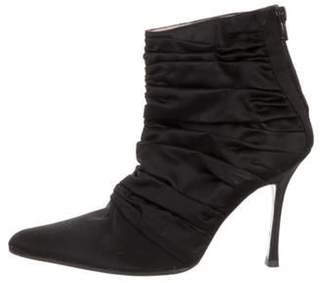 Manolo Blahnik Ruched Ankle Boots Black Ruched Ankle Boots