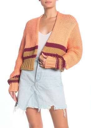 Free People Glow For It Cropped Knit Cardigan