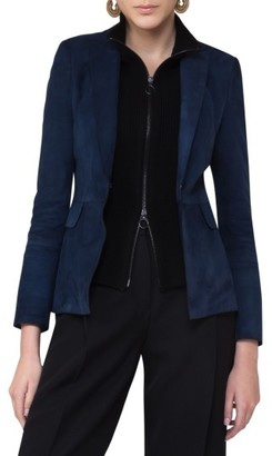 Women's Akris Punto Suede Blazer With Removable Knit Insert $2,990 thestylecure.com