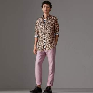Burberry Figurative Print Linen Cotton Shirt