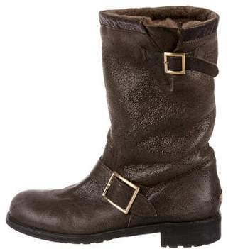 Jimmy Choo Shearling-Lined Moto Boots