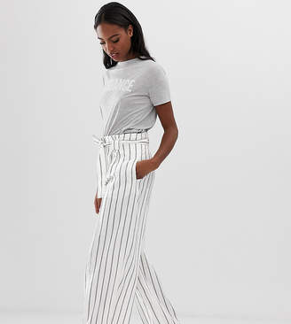 Asos Tall DESIGN Tall linen wide leg pants with paperbag waist and belt in stripe