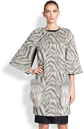 Fendi Fur-Trimmed Animal Print Cape Coat