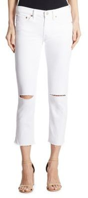 Polo Ralph Lauren Distressed Cropped Straight-Leg Jeans $165 thestylecure.com