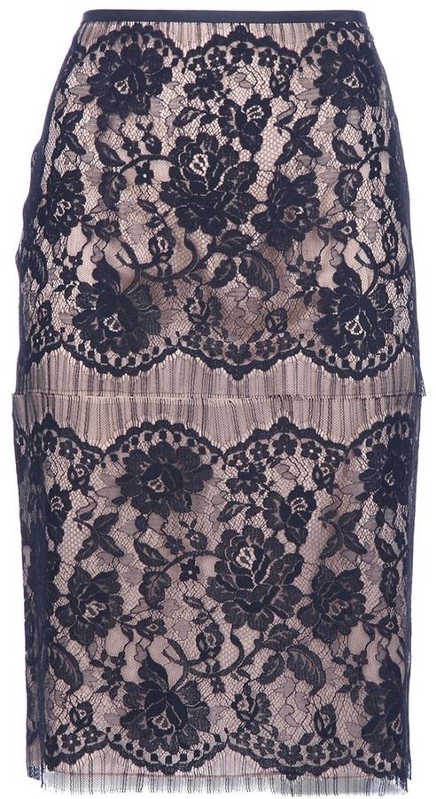 Lanvin floral lace skirt