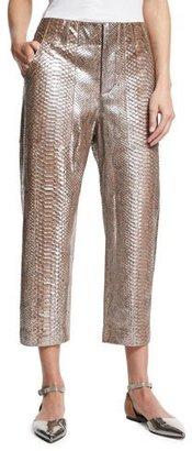Brunello Cucinelli Metallic Python Cropped Pants, Gray $6,995 thestylecure.com