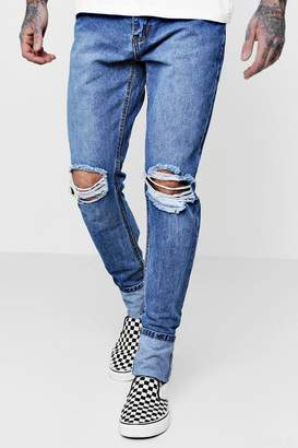 boohoo Skinny Fit Turn Up Distressed Knee Jeans