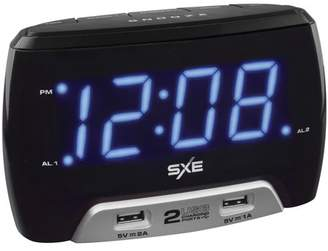 SXE SXE86046 Digital Alarm Clock with 2 USB Fast-Charging Ports