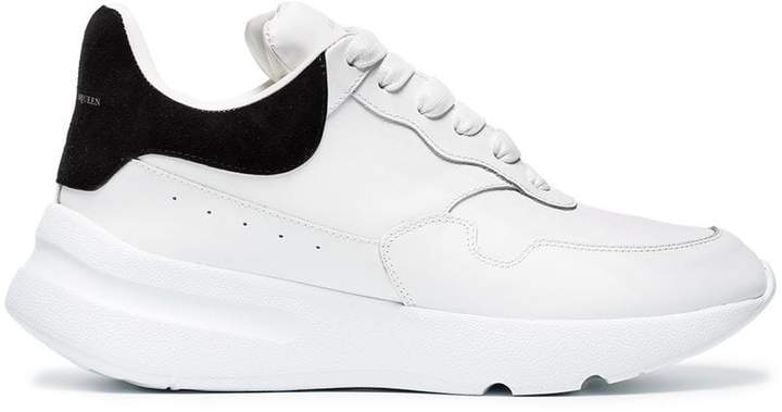 Alexander McQueen White And Black Runner leather sneakers