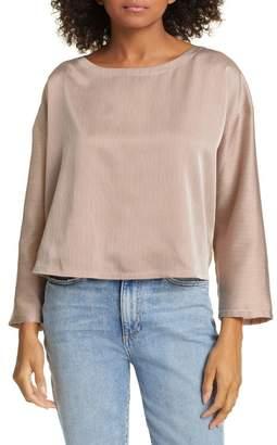 Eileen Fisher Stripe Silk & Cotton Blouse