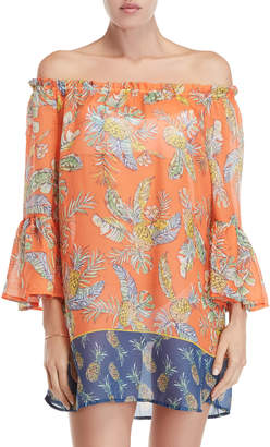 Beach Lunch Lounge Mimosa Printed Off-the-Shoulder Cover-Up Dress