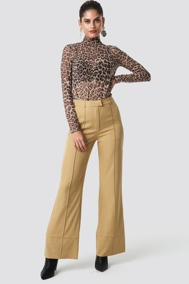 BEIGE Na Kd Trend Fold Up Flared Pants