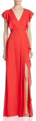 BCBGMAXAZRIA Flutter Sleeve Gown - 100% Exclusive $298 thestylecure.com