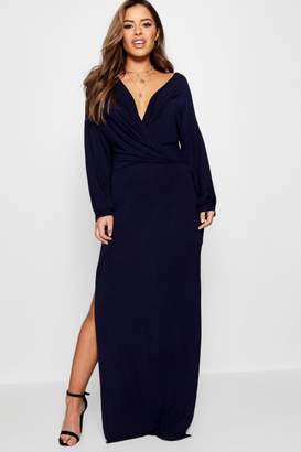 boohoo Petite Volume Sleeve Split Leg Maxi Dress