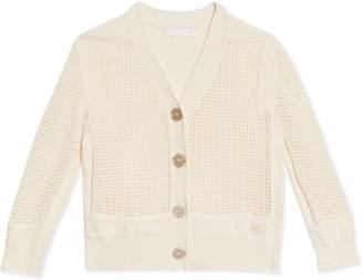 Burberry Open Knit Cotton V-neck Cardigan