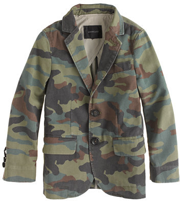 Ludlow Boys' unconstructed suit jacket in camo-print chino
