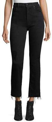 Derek Lam 10 Crosby Leah High-Waist Straight-Leg Jeans w/ Raw Hem