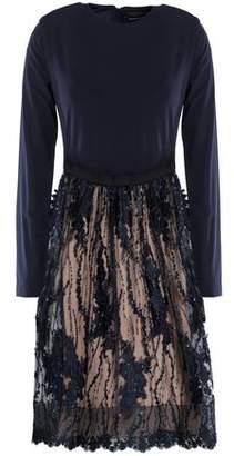 Catherine Deane Floral-Appliquéd Sequin-Embellished Stretch-Jersey And Tulle Dress