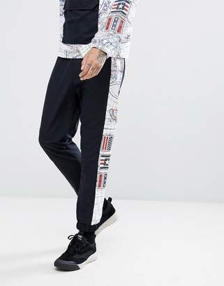 Jaded London Joggers In Black With Map Print