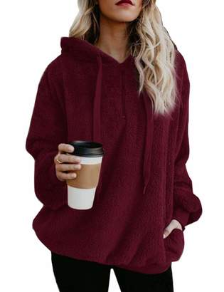 f86b4c48ac7 WISREMT Women s Sherpa Pullover Long Sleeve Fuzzy Fleece Hoodie Casual  Loose Oversized Sweatshirt with Pockets Warm Zipper Outwear Coat