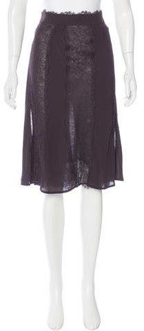 Saint LaurentYves Saint Laurent Lace-Trimmed Knee-Length Skirt