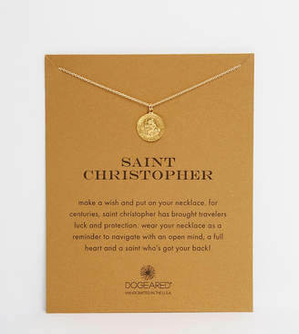 Dogeared Gold Plated Saint Christopher Necklace