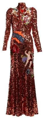 Dolce & Gabbana Applique Sequin Embellished Gown - Womens - Orange Multi