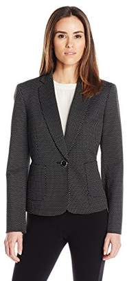 Kasper Women's Pin Dot Knit Jacquard 1 Button Jacket with Pocket Detailing