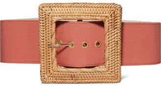 Cult Gaia Sylvie Canvas And Rattan Belt - Red
