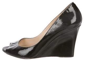 Jimmy Choo Patent Leather Peep-Toe Wedges