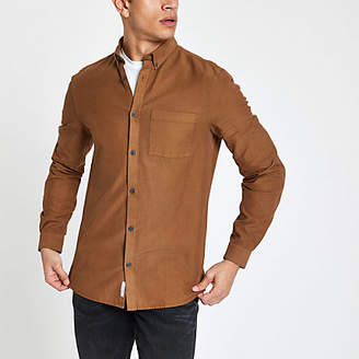 River Island Mens Brown lyocell chest pocket slim fit shirt