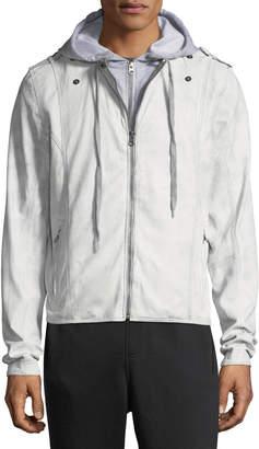 Jakett Contrast-Hooded Zip-Front Moto Jacket, Light Gray