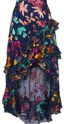 Alice + Olivia Sasha Asymmetric Ruffle-Trimmed Devoré-Chiffon Skirt
